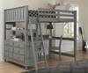 Lakehouse Loft Bed with Desk Full Size Stone | NE Kids | NE2045-Desk