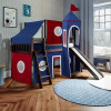 Twin Play Loft with Red/Blue/White Curtain, Tower & Top Tent (with Ladder & Slide) – Espresso