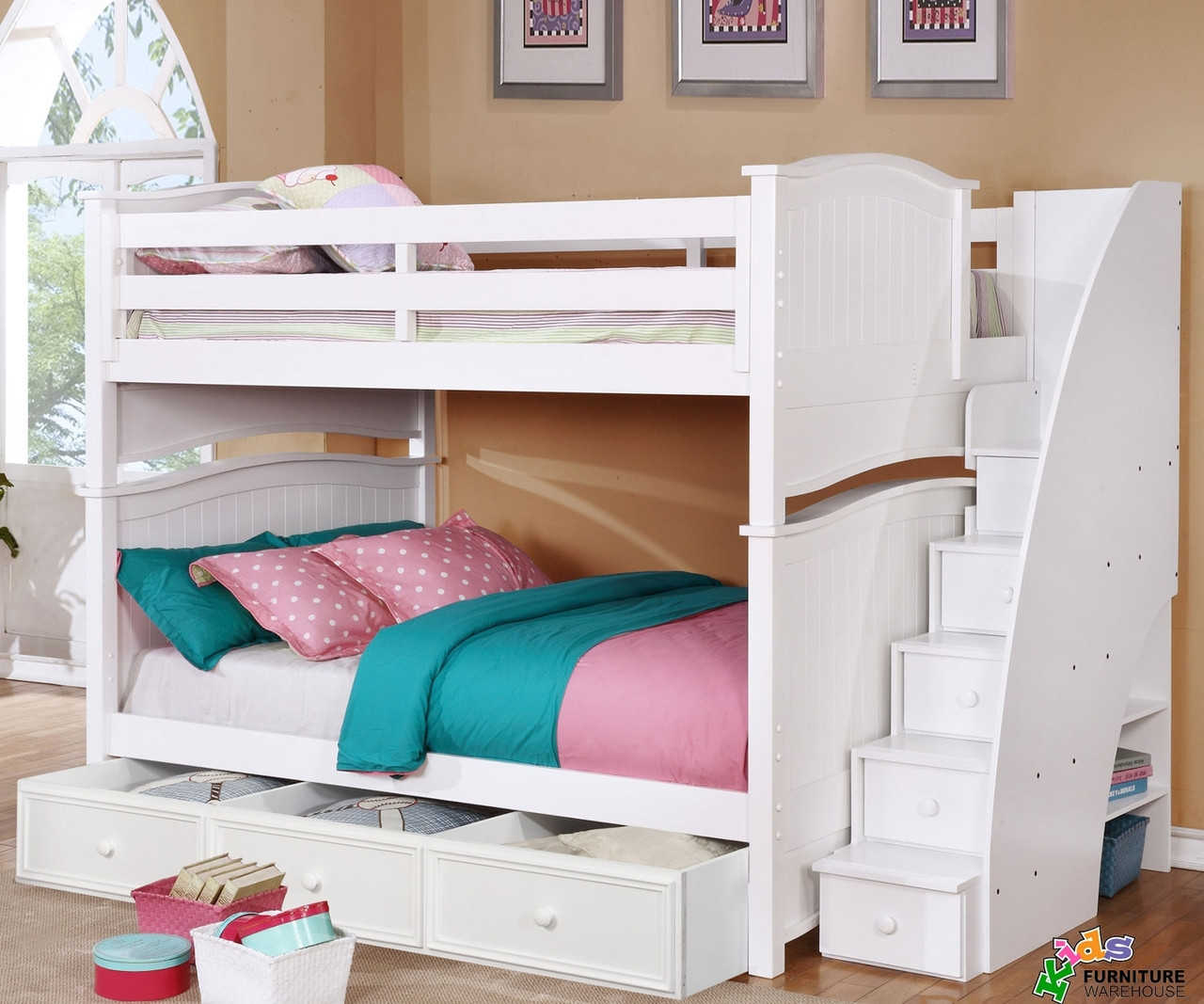 Chelsea Full Bunk Bed W Stairs In White Kids Furniture