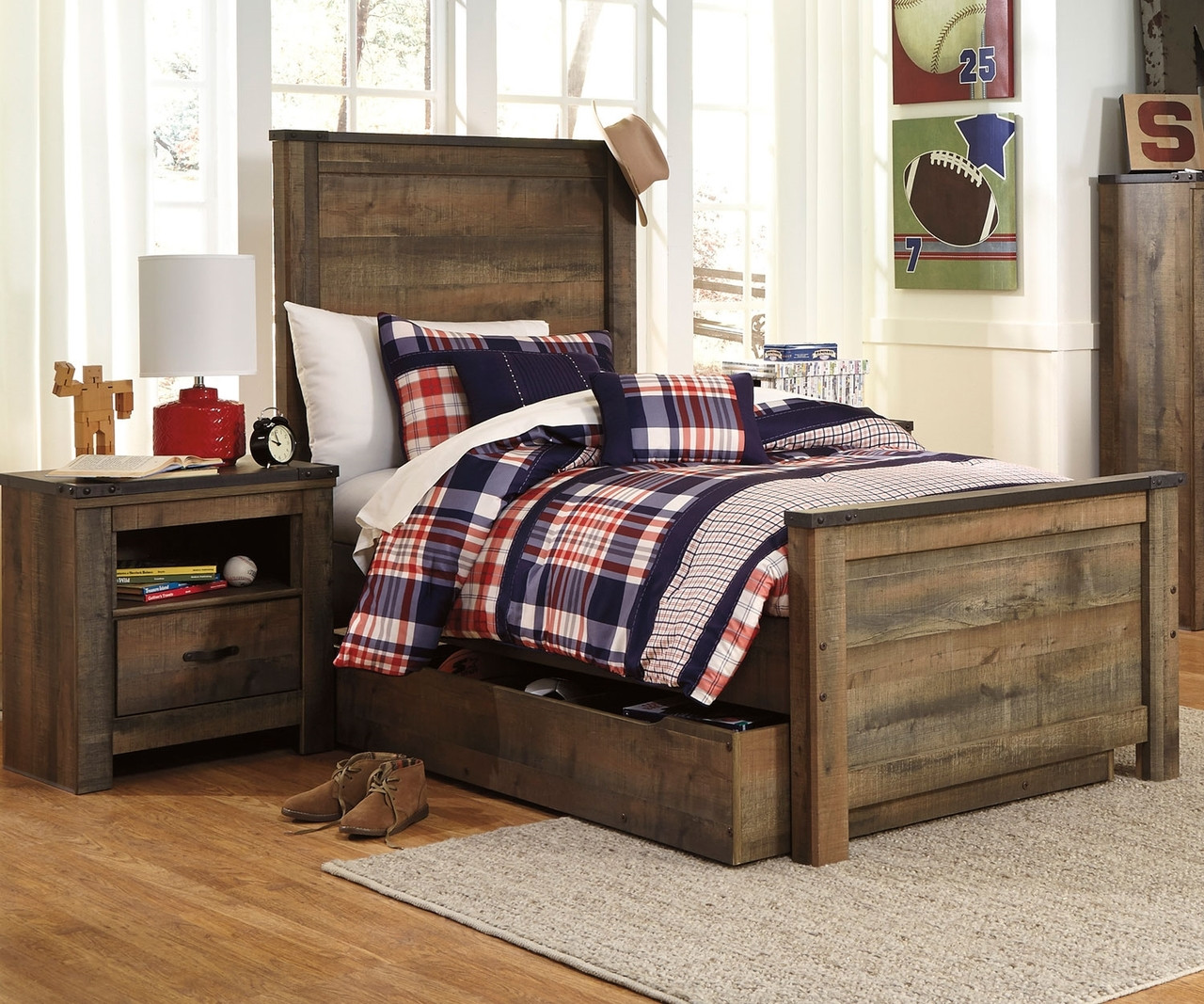 Trinell B446 Twin Size Panel Bed With Trundle Ashley Kids Furniture Boys And Girls Bedroom Furniture