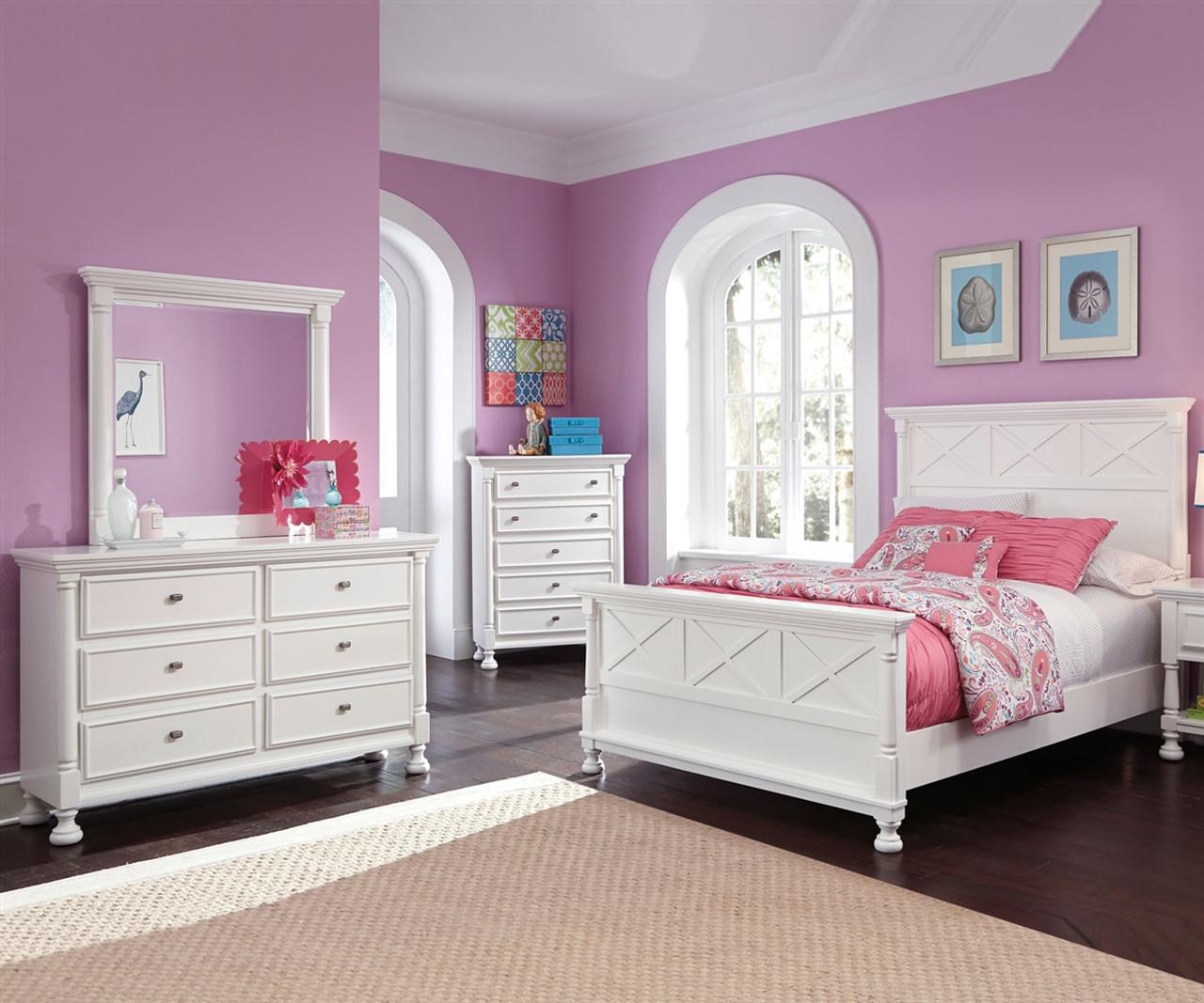 kaslyn b502 full size panel bed  girl's full beds in