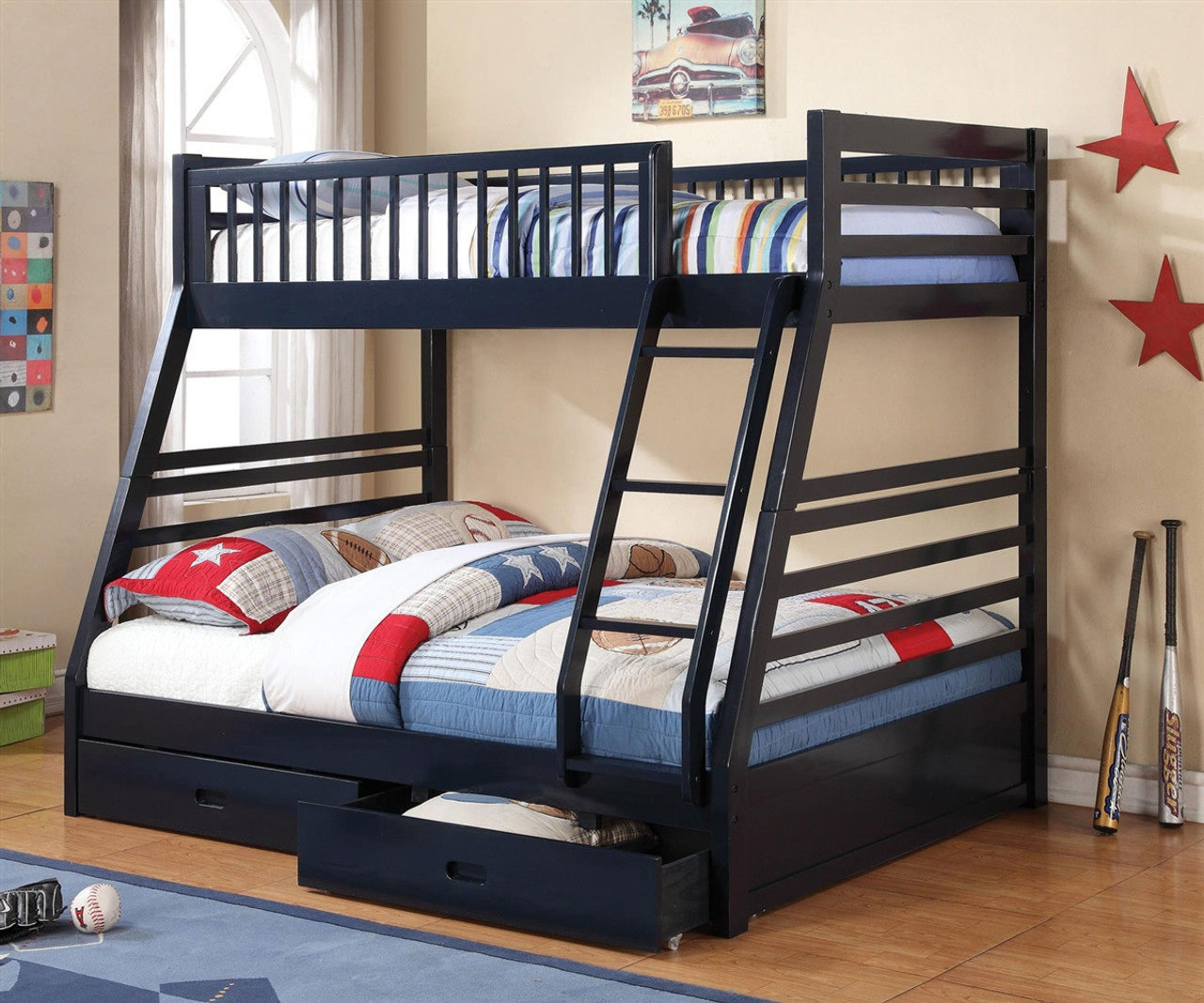 Coaster Furniture 460181 Twin Over Full Navy Blue Bunk Bed Full Size Bunkbed With Drawers Twin Over Full Blue Bunkbed With Storage Drawers At Kids Furniture Warehouse