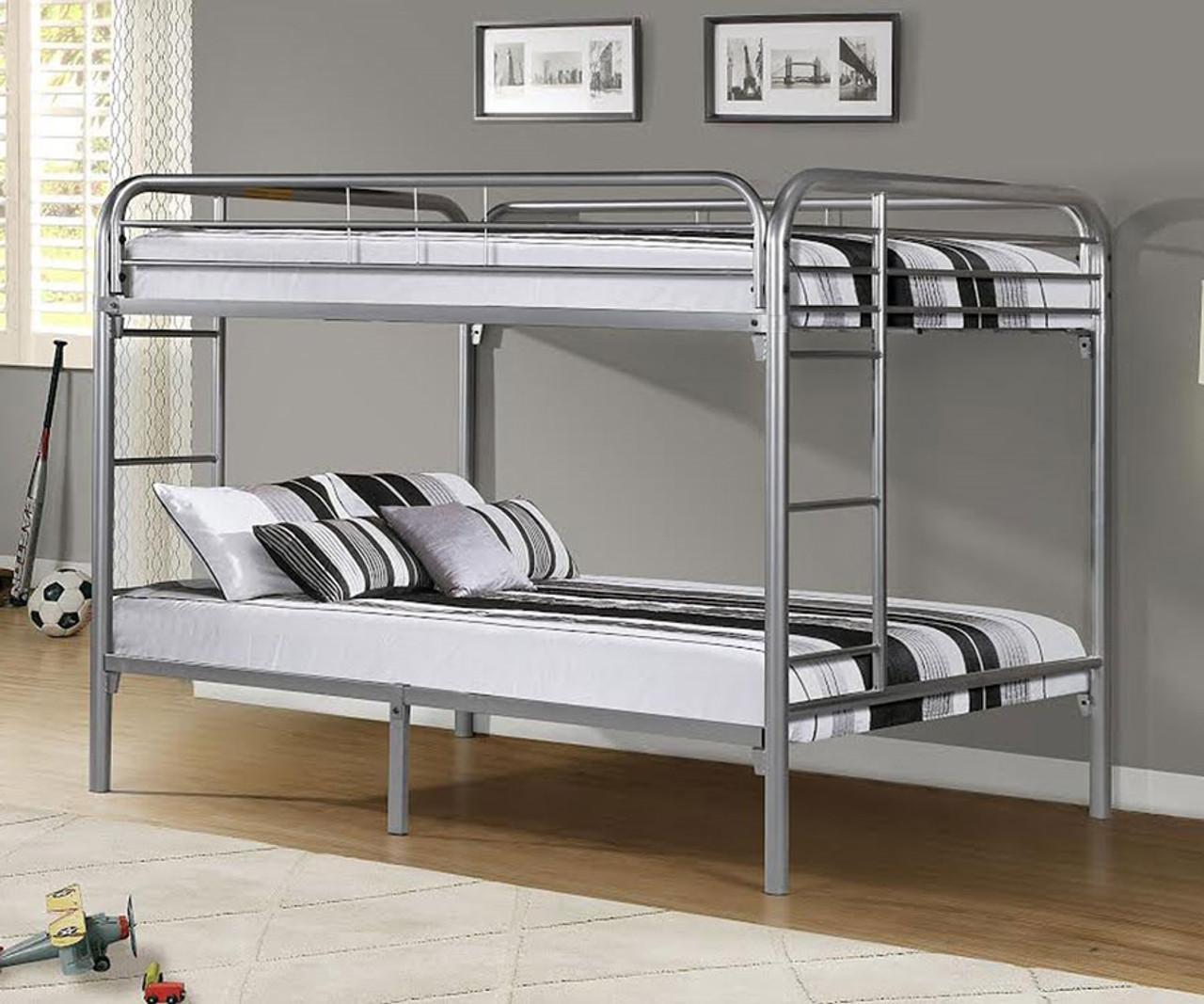 Donco Metal Full Over Full Bunk Bed 4510 Silver Kfw