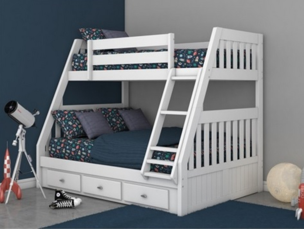 Discovery World Furniture Twin Over Full White Bunk 0218 Bed For Kids Bedroom Furniture White Twin Over Full Bunkbeds With Storage Drawers And Trundles And Kids Trundle Beds For Childrens Also Dw0218