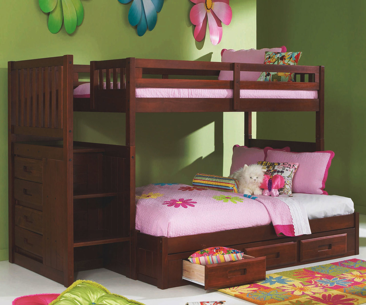 Merlot Finish Mission Stairstepper Bunk Bed At Kids Furniture Warehouse Merlot Bunk Bed With Stairs In Orlando And Tampa With Delivery Available Bunk Beds With Stairs In Central Florida