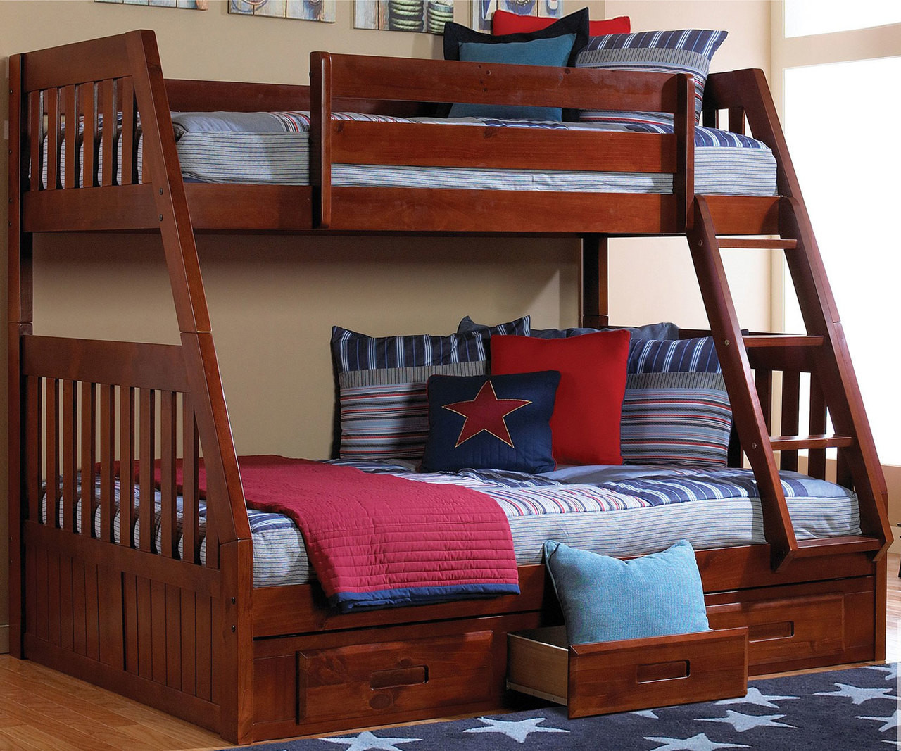 Discovery World Furniture Twin Over Full Merlot Bunk 2818 Bed For Kids Twin Over Full Bunkbeds With Storage Drawers And Trundle Bed For Childrens Dwf1117