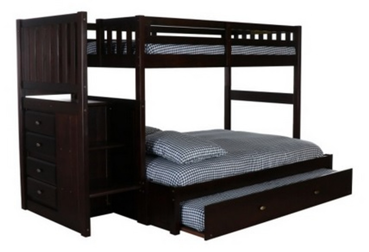 2914 Full Espresso Stairstepper Bunk Bed In Orlando Pompano And Tampa Fl Kids Bunk Beds With Stairs Discovery World Furniture