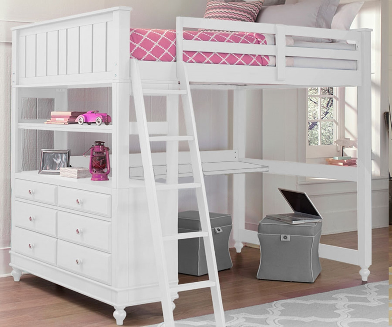 1045 Full Size Loft Bed With Desk White Lakehouse Collection White Finish Ne Kids Furniture