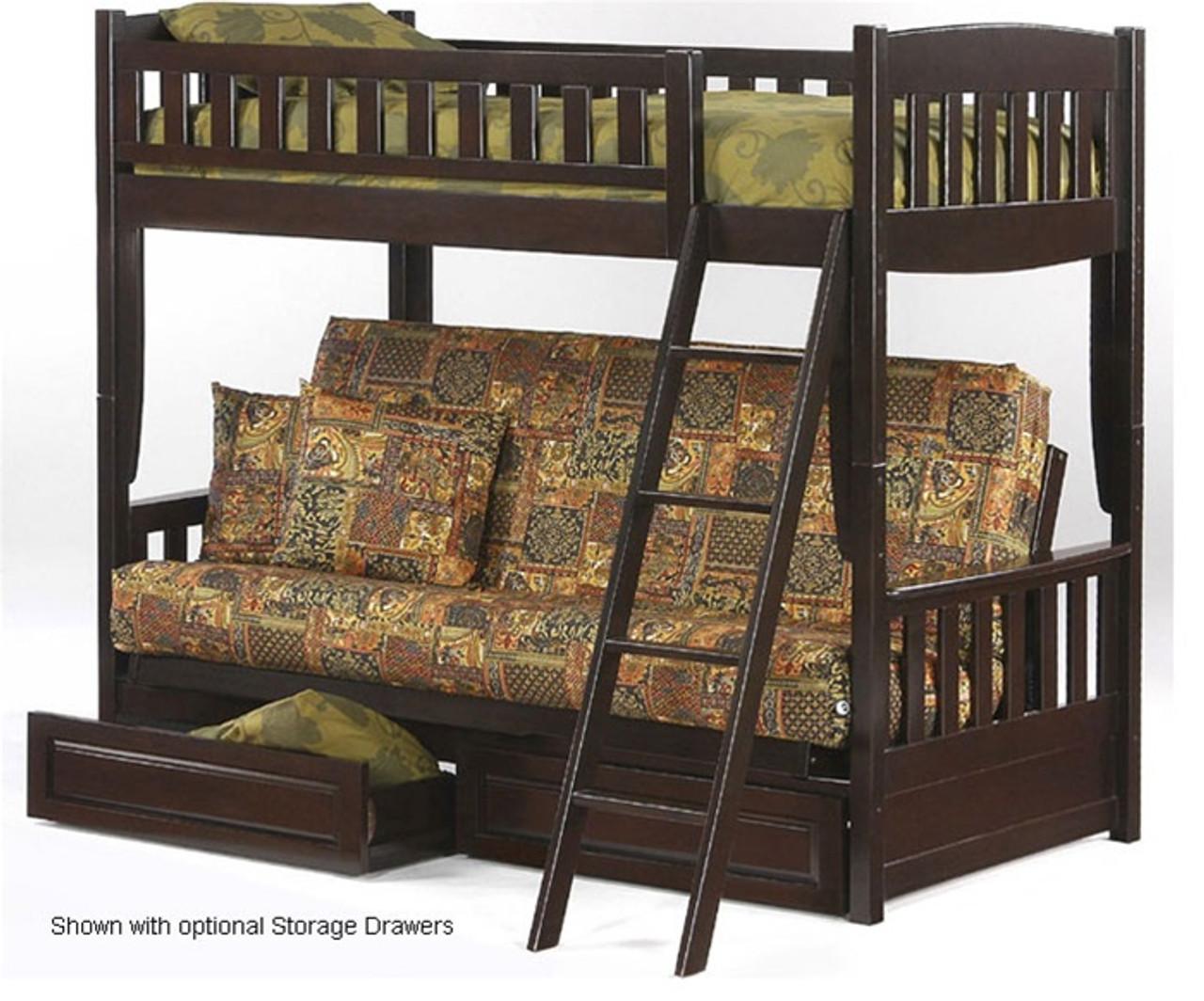 Night And Day Spice Cinnamon Twin Over Futon Bunk Bed In Chocolate Cinnamon Twin Over Futon Bunkbed Furniture In Chocolate Futon Bunk Beds In Chocolate By Night An Day Furniture