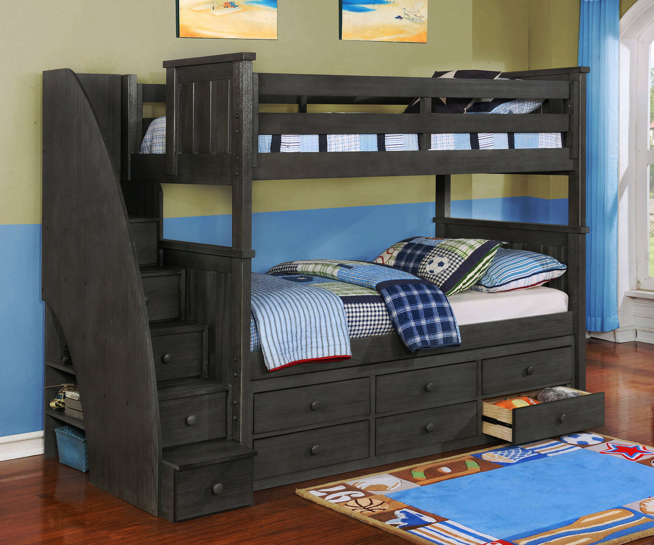 Brandon Bunk Bed With Stairs In Driftwood Gray Allen House Kids Loft Beds And Bunk Beds