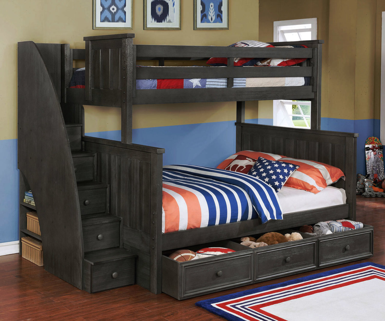 Brandon Bunk Bed Twin Over Full With Stairs In Driftwood Gray Allen House Kids Loft Beds And Bunk Beds