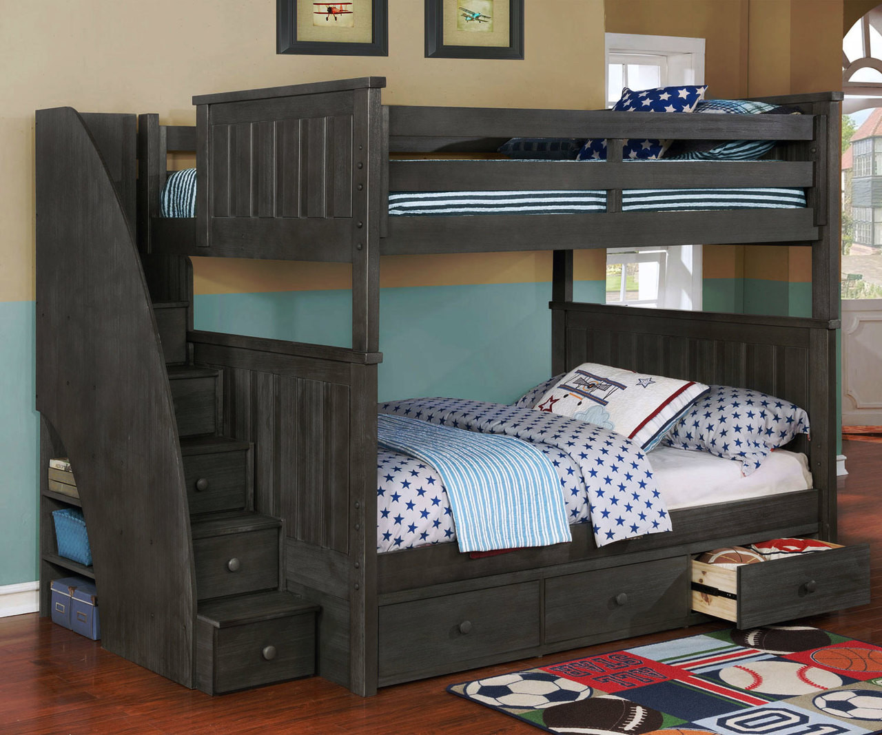 Brandon Full Bunk Bed W Stairs Dark Gray Kids Furniture