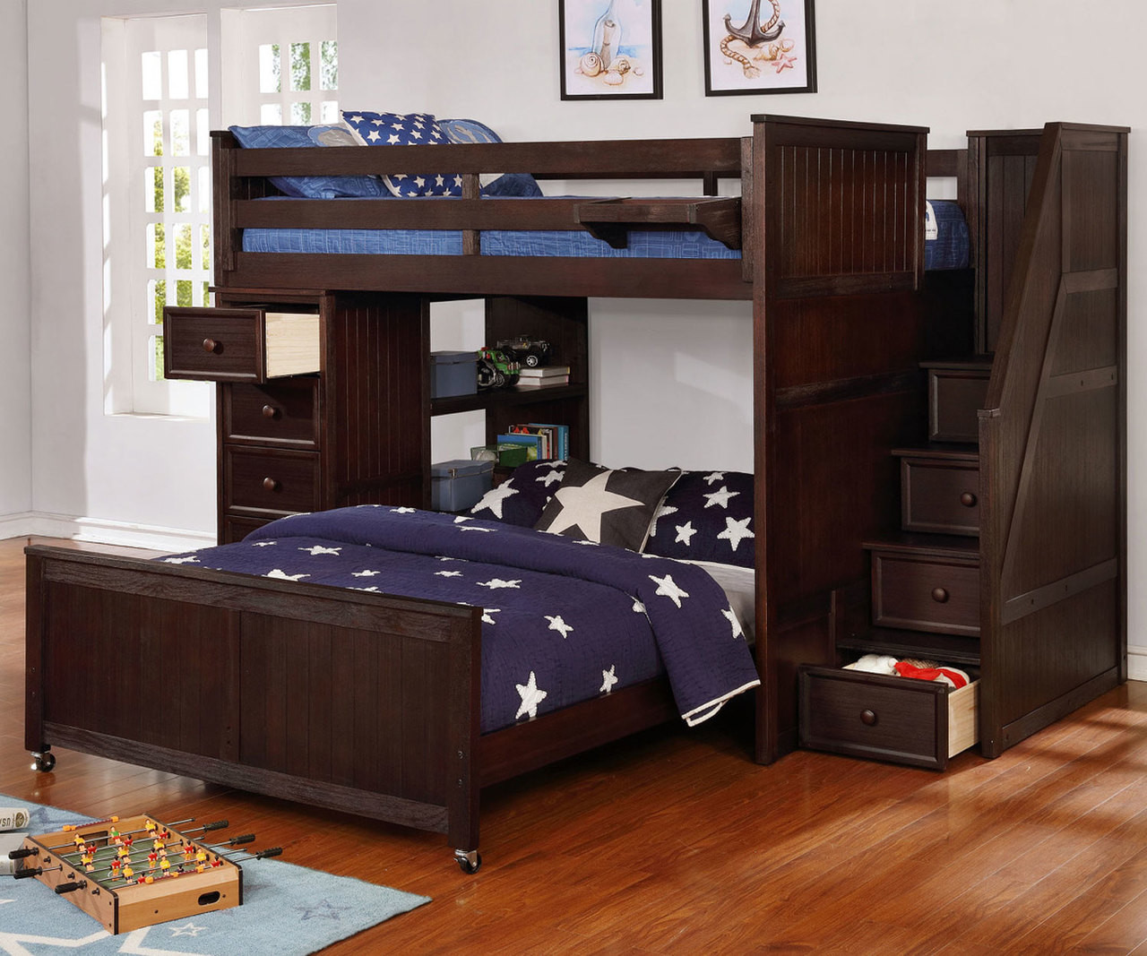 Multifunction Loft Bed In Weathered Espresso Allen House Kids Loft Beds And Bunk Beds