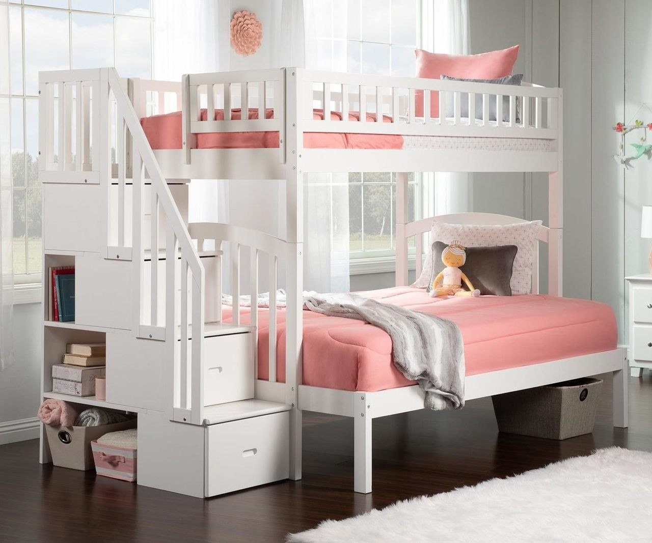 Westbrook Twin Over Full Stair Bunk Bed White Ab65702 Atlantic Furniture Solid Wood Bedroom Furniture In White