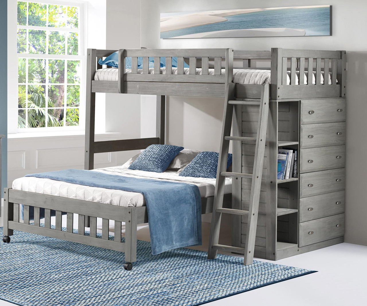 Discovery World Furniture Westport Gray Twin Over Full Loft Bed 3205 Loft Bed For Kids And Teens With Built In Storage Drawers
