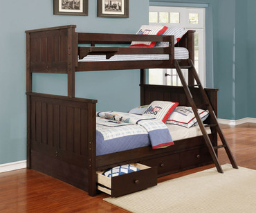 Allen House Brandon Twin over Full Bunk Bed Weathered Espresso