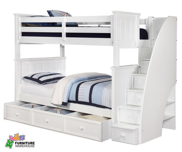 Allen House Brandon Bunk Bed with Stairs White | Allen House | AH-J-TT-01-STR-T-J