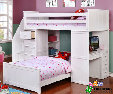 Allen House Student Loft Bed with Stairs White | Allen House | AH-SL-TT-01-STR