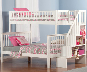Woodland Stair Bunk Bed Twin over Full White | Atlantic Furniture | ATL-AB56702