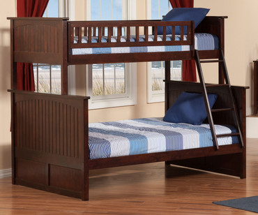 Nantucket Bunk Bed Twin over Full Antique Walnut | Atlantic Furniture | ATL-AB59204