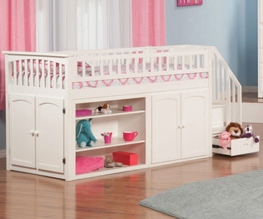 Atlantic Mini Staircase Loft Bed White | Atlantic Furniture | ATL-AB62102