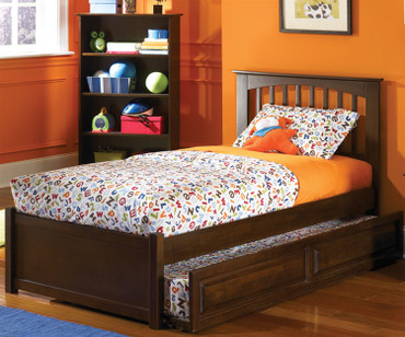 Brooklyn Twin Size Trundle Bed Antique Walnut | Atlantic Furniture | ATLBRK-TRT-AW