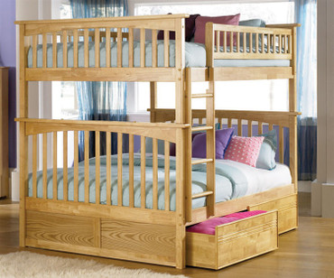 Columbia Full over Full Bunk Bed Natural Maple | Atlantic Furniture | ATLCOL-FF-NM