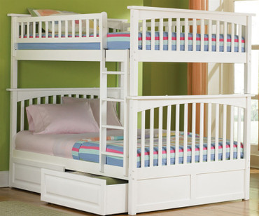 Columbia Full over Full Bunk Bed White | Atlantic Furniture | ATLCOL-FF-W