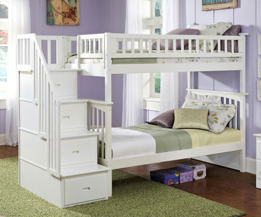Columbia Staircase Bunk Bed White | Atlantic Furniture | ATLCOL-SSTT-WH