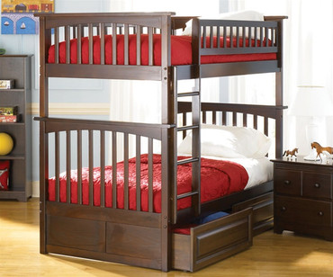 Columbia Bunk Bed Antique Walnut | Atlantic Furniture | ATLCOL-TT-AW