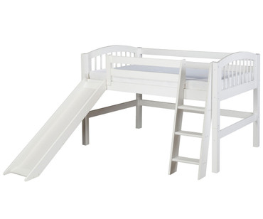 Camaflexi Low Loft Bed with Slide Twin Size White | Camaflexi Furniture | CF-E503