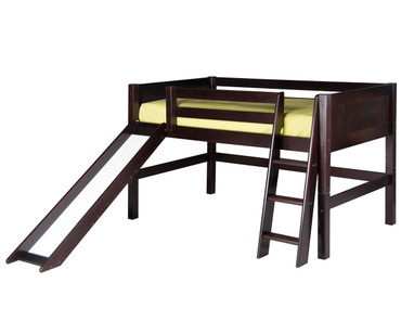 Camaflexi Low Loft Bed with Slide Twin Size Cappuccino 2 | Camaflexi Furniture | CF-E522