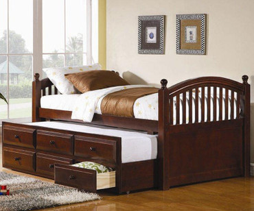 Arch Captains Trundle Bed Cherry Finish | Coaster Furniture | CS400381T