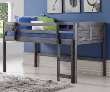 Louver Low Loft Bed Antique Grey | Donco Trading | DT-790AAG