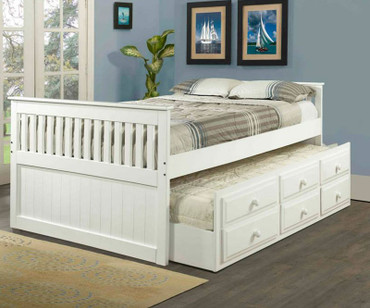 Mission Full Size Captain's Trundle Bed White | Donco Trading | DT103W-FULL