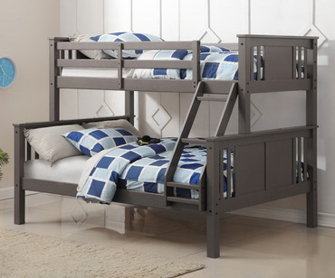 Princeton Twin over Full Bunk Bed Slate Grey | Donco Trading | DT318TFSG