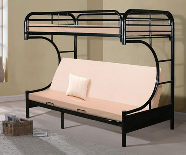 Donco C-Shaped Futon Bunk Bed Black | Donco Trading | DT4509-3BK