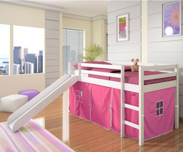 Low Loft Bed with Pink Tent & Slide White | Donco Trading | DT750WTP