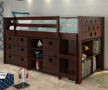 Circles Low Loft Bed with Storage Twin Size Cappuccino | Donco Trading | DT780ATCPX