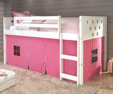 Circles Low Loft Bed with Pink Tent White | Donco Trading | DT780ATW-P