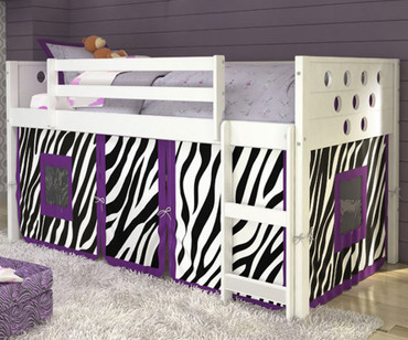 Circles Low Loft Bed with Zebra Tent White | Donco Trading | DT780ATW-Z