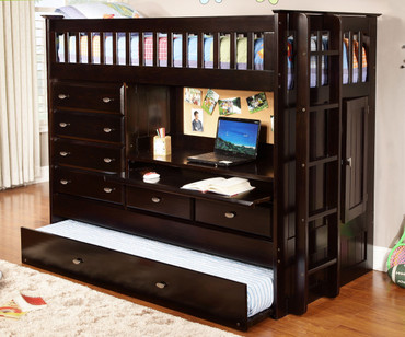 Espresso All-In-One Loft Bed | Discovery World Furniture | DWF-2903