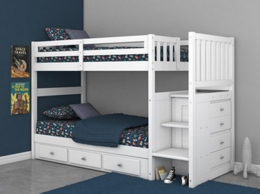 Cambridge Stair Stepper Bunk Bed White