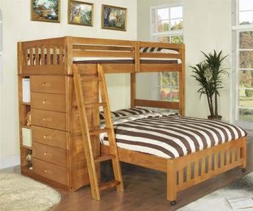 Ridgeline Honey Twin over Full Loft Bed | Discovery World Furniture | DWF2105