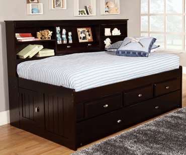 Espresso Twin Size Bookcase Captain's Day Bed with Trundle | Discovery World Furniture | DWF2922-3DRTR