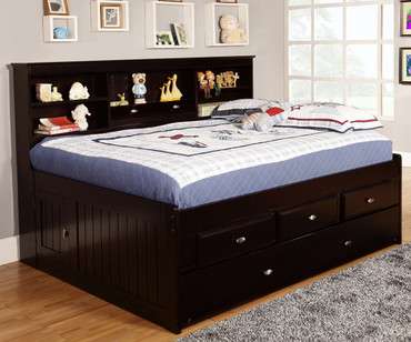 Espresso Full Size Bookcase Captain's Day Bed with Trundle | Discovery World Furniture | DWF2923-3DRTR