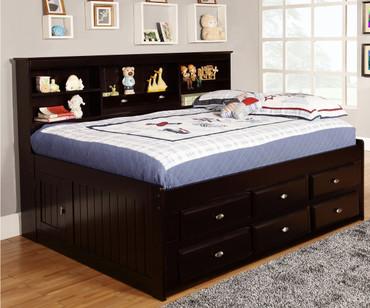 Espresso Full Size Bookcase Captain's Day Bed