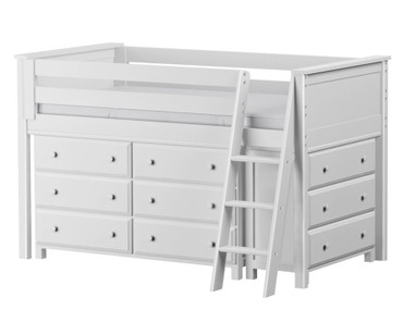Jackpot Low Loft Bed with Dressers White | Jackpot Kids Furniture | JACKPOT-710110-002