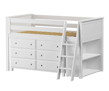 Jackpot Low Loft Bed with Dresser and Bookcase White | Jackpot Kids Furniture | JACKPOT-710110X-002