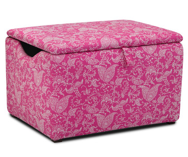 Kidz World Storage Box Designer Fabric Small Paisley Candy Pink | Kidz World | KW1400-SPCP